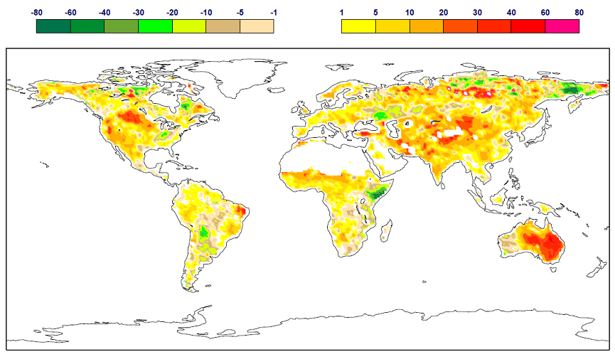 Global map of Above Ground Biomass anomaly for November 2010 in % of the 1999-2013 mean.